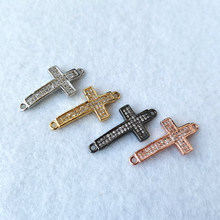 2pcs Micro Pave Cubic Zirconia CZ cross Connector Beads for Bracelet Necklace Jewelry Making DIY Charms CT555(China)