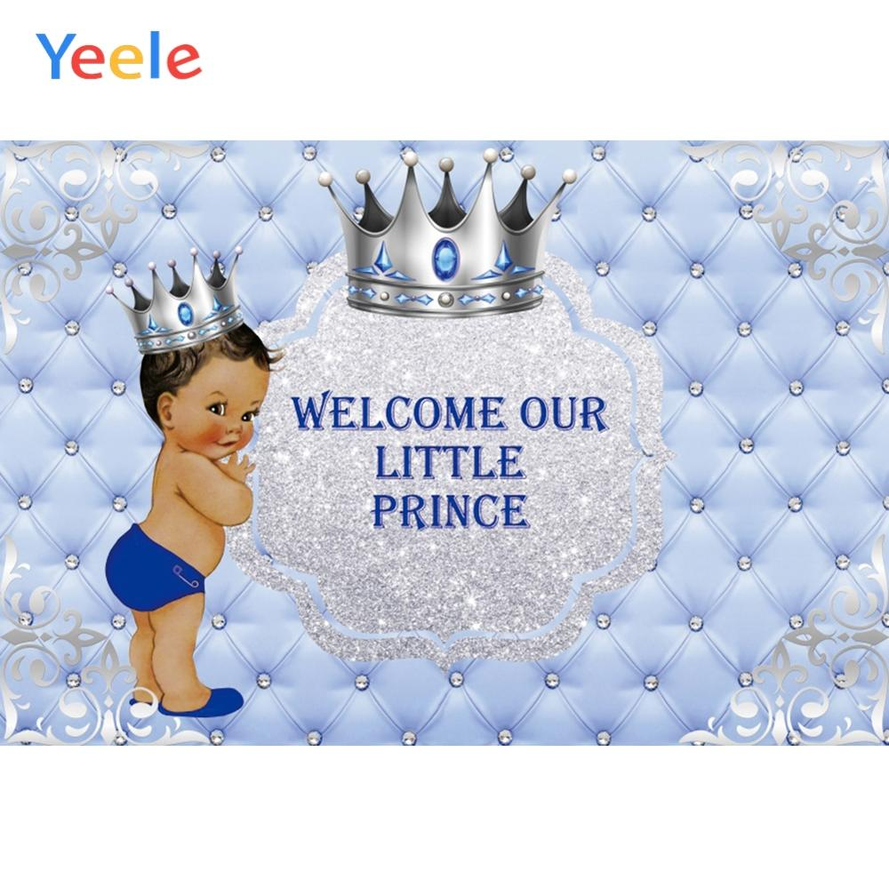 Yeele Silver Crown Little Prince Baby Shower Photocall Boy Birthday Photo Backgrounds Customized Photo Backdrop For Photo Studio