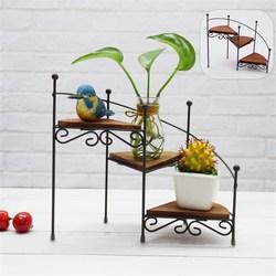 3-camada de ferro retro planta rack estande planta suculenta prateleira escada desktop jardim flor suporte com placa de madeira casa decorativa