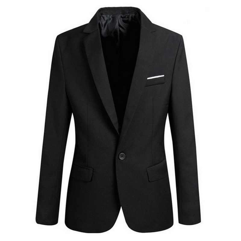 スーツのジャケットの男性グレー無地カジュアルスリムフィットワンボタンブレザー男性のためのコート男性ファッションメンズジャケット秋服 2019