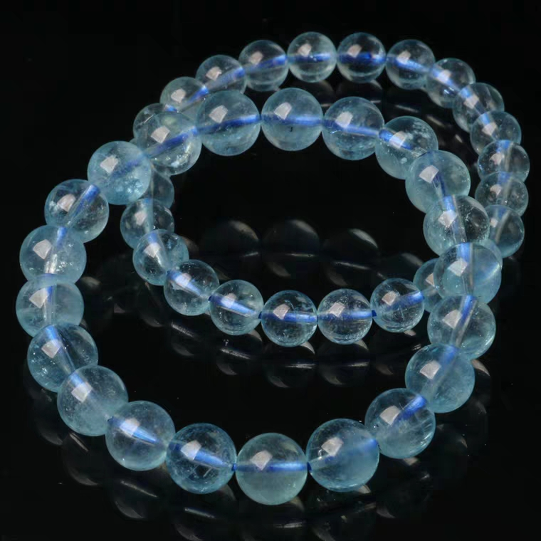 Top Quality Natural Blue Ice Aquamarine Clear Round Beads Bracelet Women Men 7mm 8mm 9mm 10mm 11mm Crystal Healing Stone AAAAA