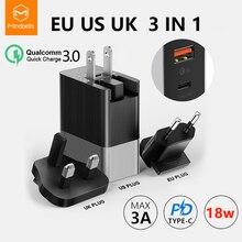 MCDODO EU US UK ปลั๊ก 3 in 1 18W USB C PD Fast ชาร์จ Universal Travel Charger 3A Wall QC 3.0 อะแดปเตอร์สำหรับ Xiaomi iPhone Samsung