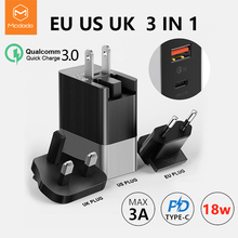 Mcdodo EU US UK Plug 3 in 1 18W USB C PD Fast Charging Universal Travel Charger 3A Wall QC 3.0 Adapter for xiaomi iPhone Samsung