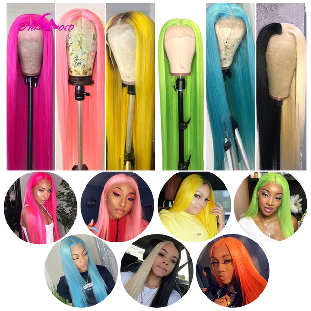 $ US $61.24 ALI Coco 150% Pink Human Hair Wig Brazilian Remy Straight Yellow Lace Front Wig Green Red Light Blue Purple Ombre Wigs For Women