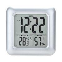 LCD Display Bathroom Hygrometer Square Clock Shower Waterproof Large Screen Thermometer