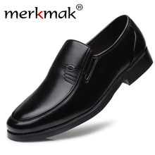 Merkmak Brand Men Leather Formal Business Shoes Male Office Work Flat Shoes Oxford Breathable Party Wedding Anniversary Shoes