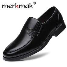 Merkmak ماركة الرجال الجلود حذاء رسمي رسمي الذكور مكتب العمل حذاء مسطح أكسفورد تنفس حفل زفاف الذكرى الأحذية