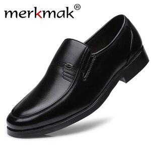 Image 1 - Merkmak מותג גברים עור רשמיות עסקי נעלי זכר משרד עבודה שטוח נעלי אוקספורד לנשימה מסיבת חתונה נעלי יום השנה