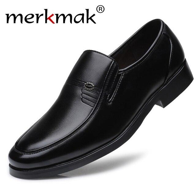 Merkmak מותג גברים עור רשמיות עסקי נעלי זכר משרד עבודה שטוח נעלי אוקספורד לנשימה מסיבת חתונה נעלי יום השנה