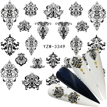 WUF 1 Sheet Black Flower Water Decal Black Sticker For Nail Pattern Painting Wrap Paper Foil Tip Tattoo Manicure heart and bear pattern tattoo paper sticker black red