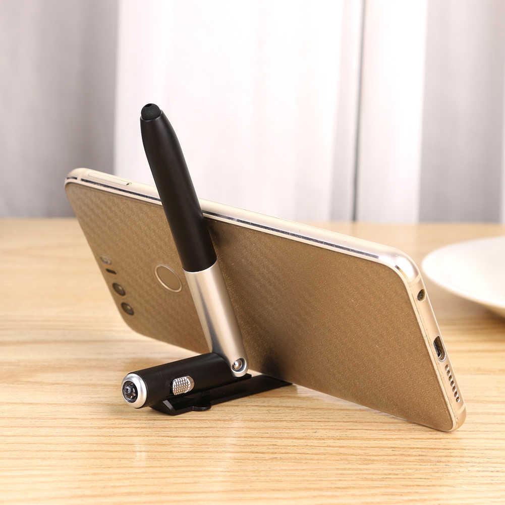มัลติฟังก์ชั่ 4 In 1 LED ปากกาลูกลื่นพับขาตั้งโทรศัพท์มือถือผู้ถือปากกาสำนักงานโรงเรียนเขียนเครื่องเขียน