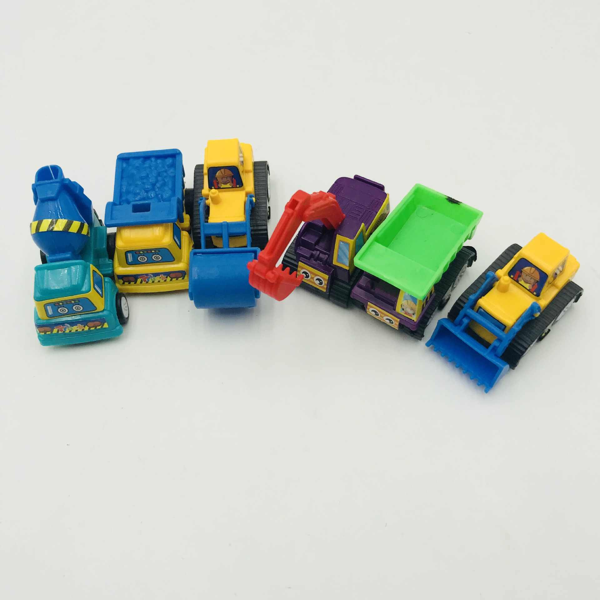 6pcs Pull Back Car Toys Mobile Machinery Shop Construction Vehicle Fire Truck Taxi Model Baby Mini Cars Gift Children Toys 2019