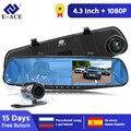 E-ACE Coche Dvr Espejo FHD 1080P Dash Cámara 4,3 Pulgadas DVRs Con Cámara De Visión Trasera Videocámara Auto Registrar Dashcam