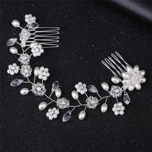 Pearl Flower Hairband Hair Accessories Wedding Bride Or Bridesmaids Tiaras Crown Length Headband Double Hair Comb цена и фото