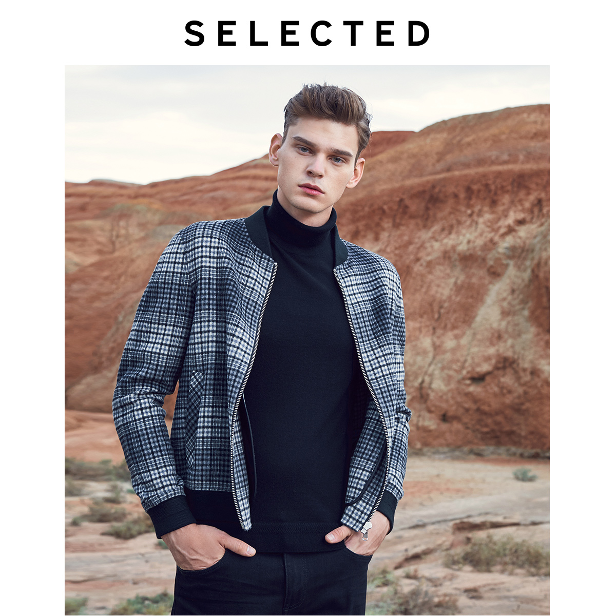 SELECTED Men's Double-sided Wool Coat Winter Checked Baseball Collar Woolen Jacket S | 419327508