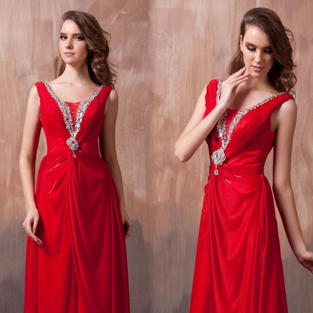Free Shipping Dinner 2018 Vestidos Sexy Red Formal Floor Length Crystal Unique Party Prom Gown Long Design Bridesmaid Dresses