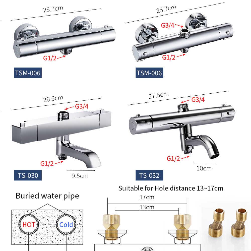 Łazienka bateria natryskowa mosiądz chromowany bateria prysznicowa z termostatem wanna i prysznic Suite akcesoria mieszacz wody