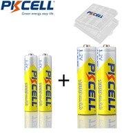 2/4/8 Uds PKCELL AA NIMH 1300mah batería recargable de 1,2 V y 2/4/8 Uds AAA NIMH 1000mah 1,2 V batería recargable con 1/2/4 caja