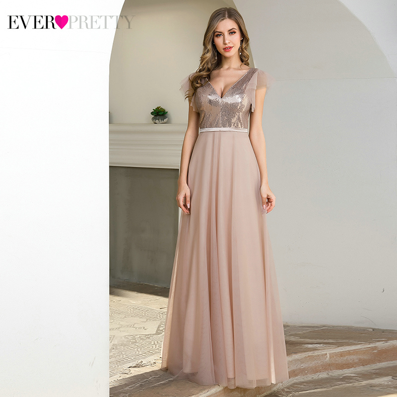 Sparkle Blush Prom Dresses Ever Pretty A-Line Short Ruffles Sleeve Sequined Double V-Neck Tulle Long Party Gown Vestido De Festa