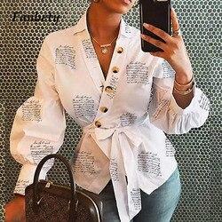 Fanbety, женская блузка с буквенным принтом, рубашка, фонарь, длинный рукав, блузки, Офисная Леди, Осень-зима, сексуальный v-образный вырез, на пуг...