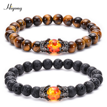 8mm Lava Rock Tiger Eye Stone Bracelet for Men Woman Natural Stone Healing Beads Couple Bracelet King Crown Distance Bracelets mens bracelets couple friendship distance cone alloy hang pendant 8mm natural stone volcanic stone white pine bracelet for women