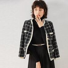 Женская короткая Осенняя клетчатая куртка с круглым вырезом