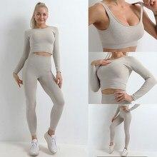 Ensemble de Sport à manches longues pour femmes, vêtements de gymnastique, élastiques, solides, respirants, confortables, Yoga, 2/3 pièces