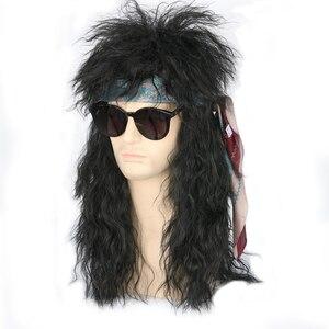 Image 5 - Gres Nam Dài Tổng Hợp Tóc Tóc Giả Màu Đen Nữ Bộ Tóc Giả Punk Phồng Mũ Bảo Vệ Đầu Cho Halloween Sợi Nhiệt Độ Cao