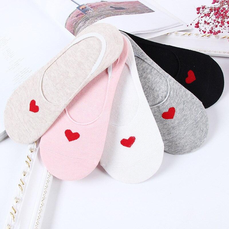 Носки-невидимки женские хлопковые, Нескользящие короткие, мягкие, в полоску, с сердечками, для девушек, 5 пар, на весну-лето