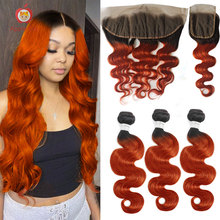 Human-Hair-Bundles Hair-Closure Frontal Applegirl with Orange Ginger Colored Body-Wave