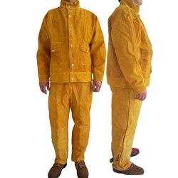 Ropa de seguridad de soldadura retardante de llama de cuero puro soldador de ropa de protección Anti-escaldar monos ropa de trabajo