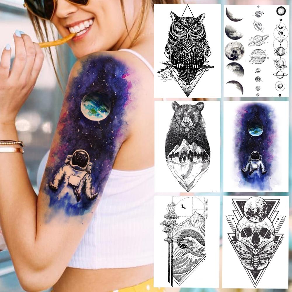 Purple Galaxy Earth Spaceman Temporary Tattoos Planet Chains Arm Tattoo Sticker For Men Women Waterproof Body Art Fake Owl Tatoo(China)