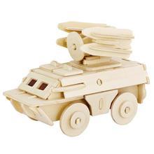 3D DIY Assemble Wooden Transportation Building Puzzle Toy Tank Model for Kids все цены