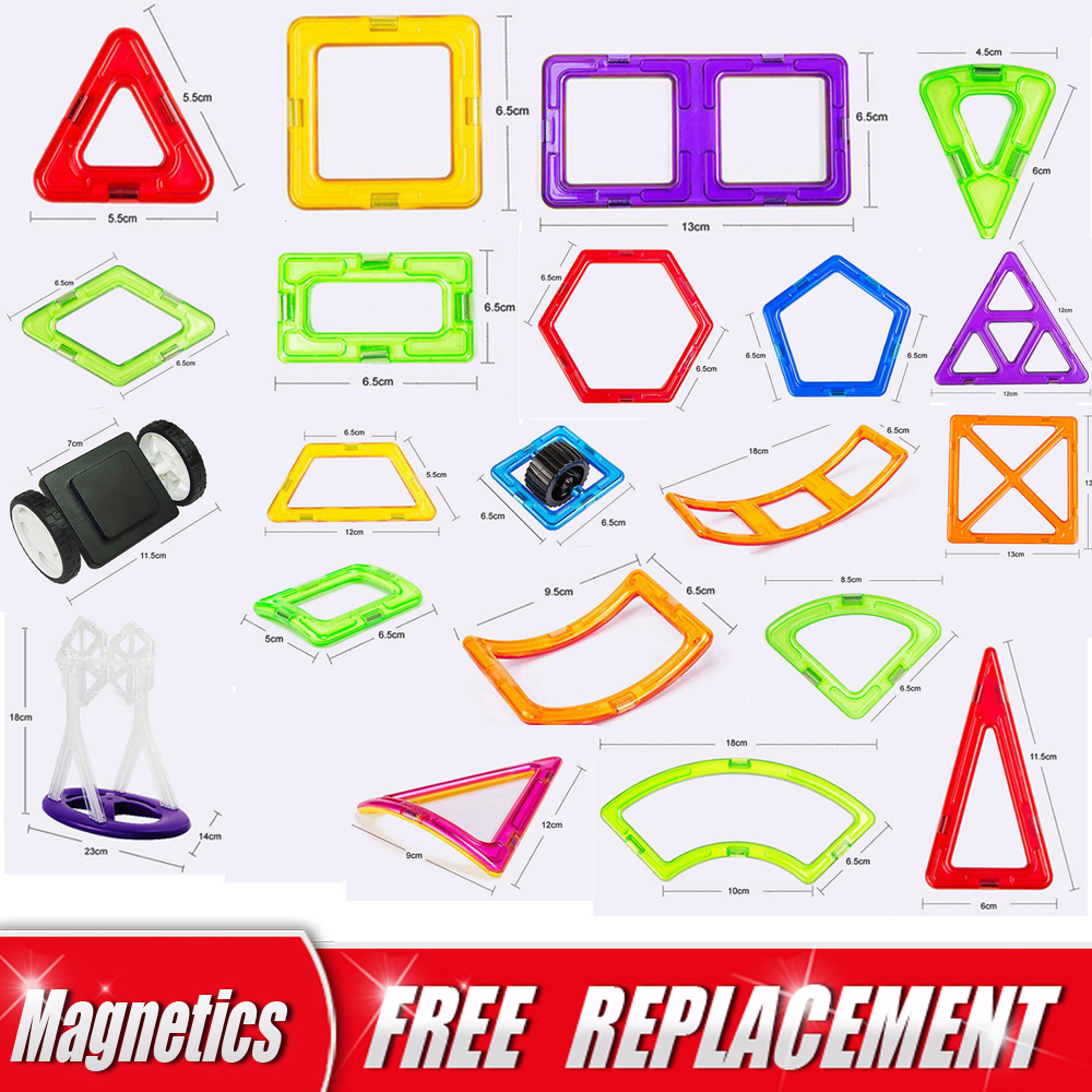 Big Size Magnetic Designer Magnet Building Blocks Single Piece Accessories Part 3D Educational Constructor Toys For Kids Gift