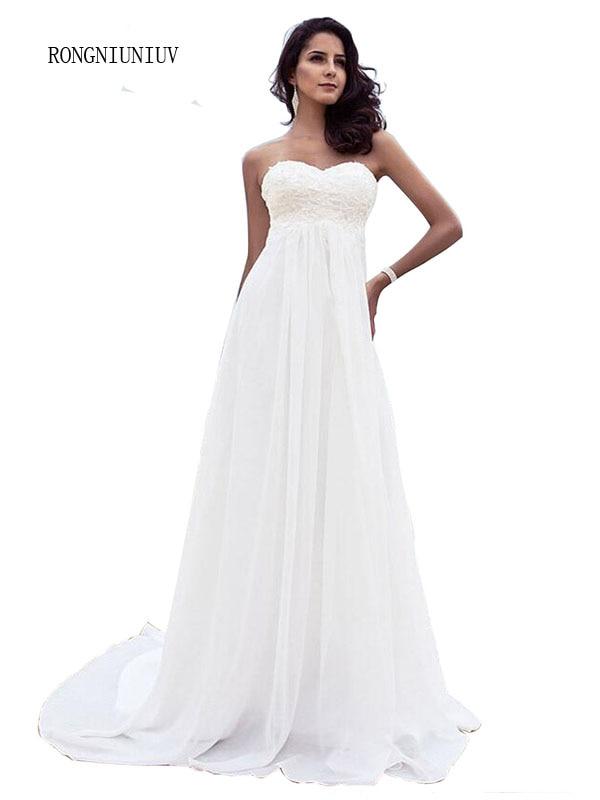 2019 plage robes De mariée en mousseline De soie longueur Vestidos De Novia à lacets perlée grande taille Boho robes De mariée