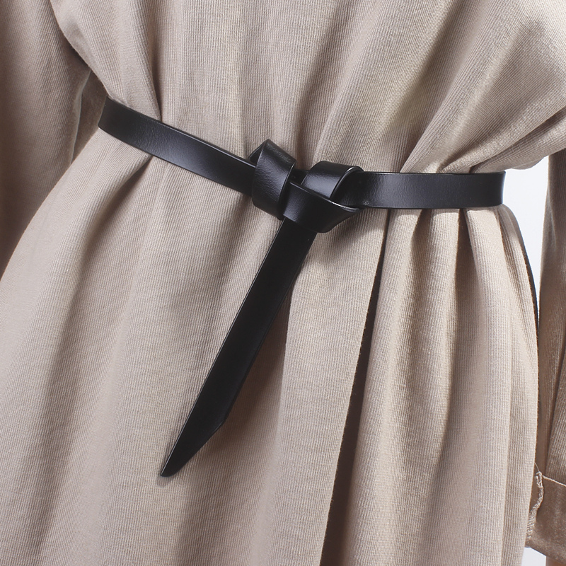 Women Genuine Leather Thin Belt Black Jeans Bow Knot Cowhide Leather Belts Woman Dress Waist Strap Brown Soft Solid Waistbands