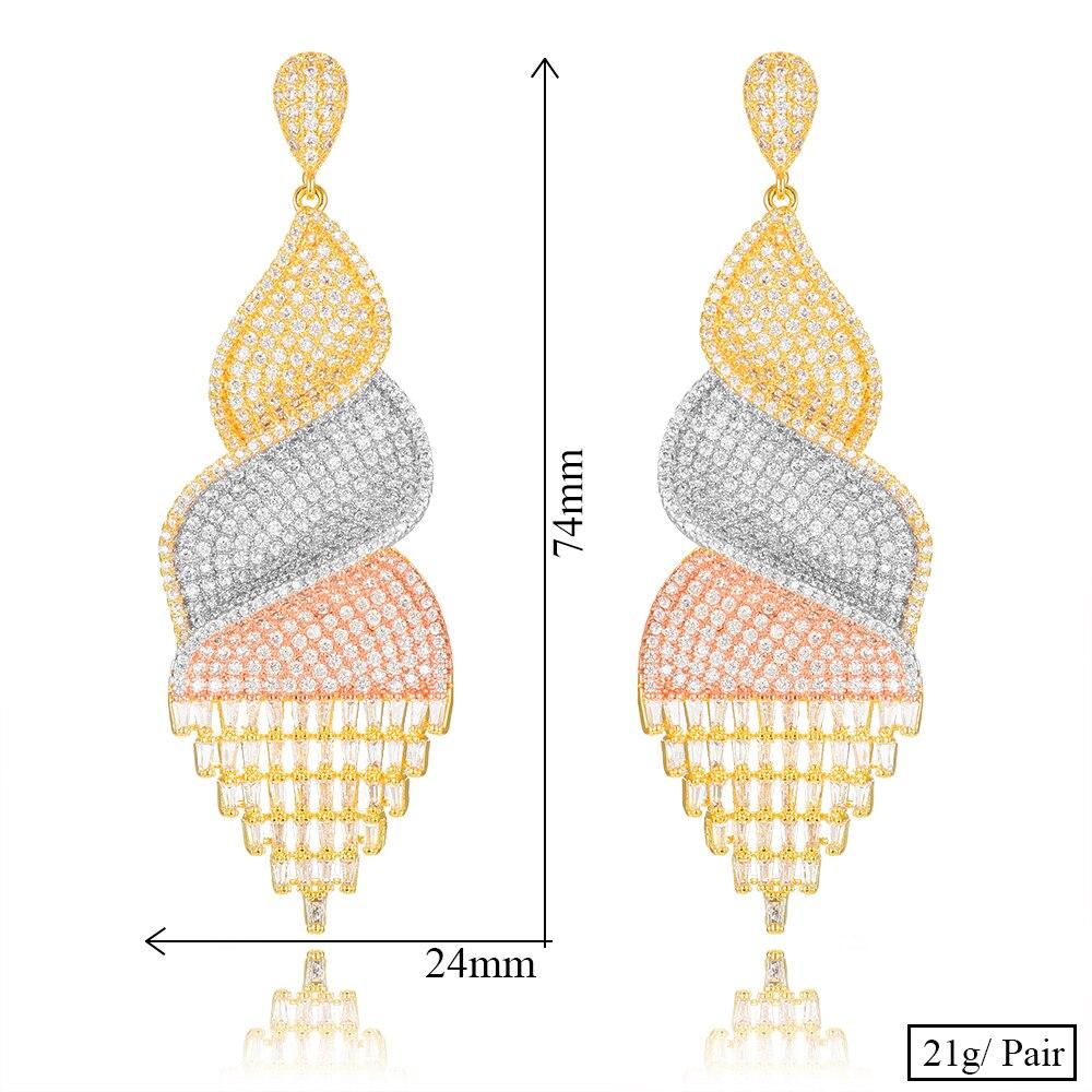 Siscathy Charms Cubic Zircon CZ Long Tassel Dangle Earrings For Women Wedding DUBAI Drop Earrings boucle d 39 oreille femme 2019 in Drop Earrings from Jewelry amp Accessories