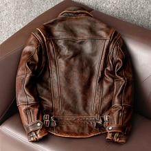2021 neue stil aus echtem Leder jacke Vintage Braun Rindsleder Mantel Männer Dünne Mode Biker jacke Asiatische Größe S-6XL
