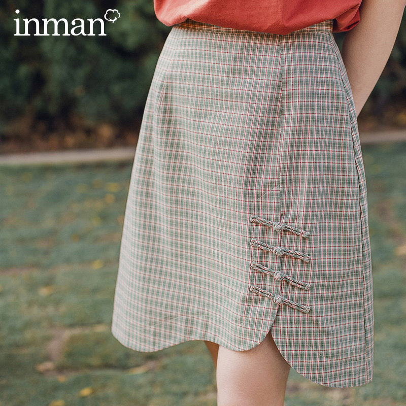 INMAN Vintage Artsy Style 2020 Summer New Arrival Mid Length Plaid Chinese Frog Design Skirt