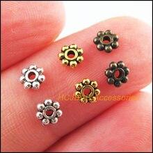 400 pçs retro tibetano prata antiquado ouro bronze tom margarida flor espaçador contas encantos 4mm