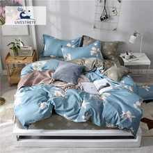 Liv-Esthete 2019 Flowers Blue Bedding Set Printed Soft Duvet Cover Pillowcase Gray Bed Linen Flat Sheet Or Fitted Home
