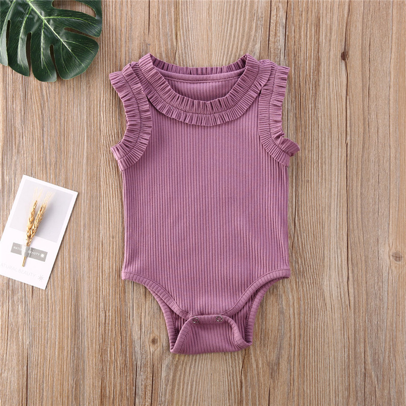 2020 Baby Summer Romper Newbown Baby Boys Girls Sleeveless Cotton Ribbed Ruffles Rompers Jumpsuits Playsuits Toddler Outfits