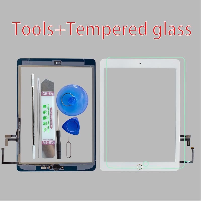 Сенсорный экран A1822 A1823 2017, для iPad 5-го поколения, 5, дигитайзер, переднее стекло, с кнопкой «домой», кабелем, инструментами, закаленным стеклом