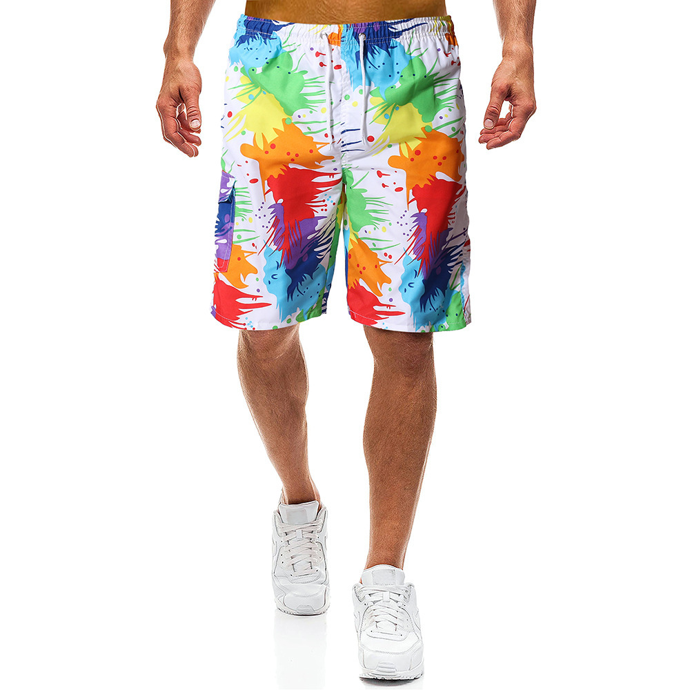 New Style Men Casual Beach Shorts Men's British Style Camouflage Fireworks Printed Surfing Loose And Plus-sized Shorts