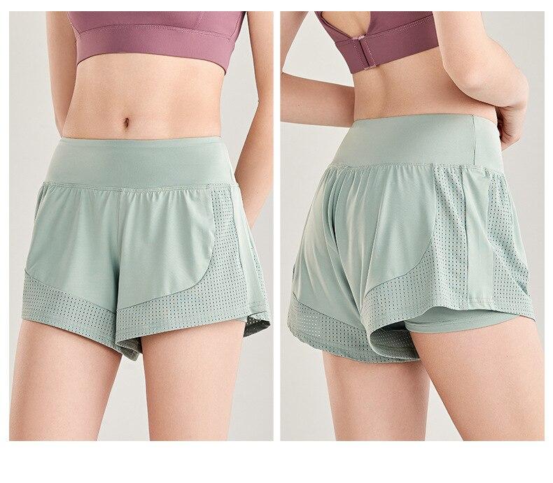 Shorts Women Workout Shorts High Waisted Running Shorts Double Layer Quick-drying Athletic Yoga Shorts Fitness Shorts (8)