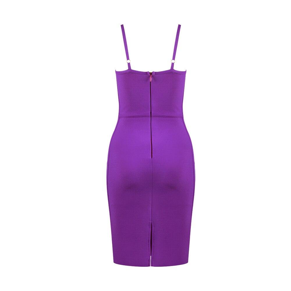 Free Shipping Ladies Sexy Purple Red Black Women Bandage Dress 2020 Celebrity Designer Fashion Evening Party Dress Vestido 5