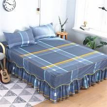 3pcs printed bedding set soft bed skirt wedding bedspread full