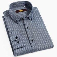 גברים של ארוך שרוול לחצן למטה מוברש פסים חולצות מקרית סטנדרטי נוחה רך 100% כותנה עבה חולצות חולצה