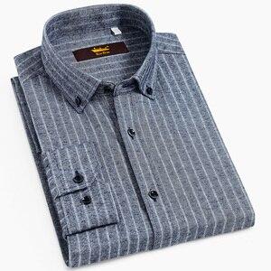 Image 1 - Chemise manches longues pour homme, chemise Standard, confortable, à rayures brossées, décontracté coton, 100%