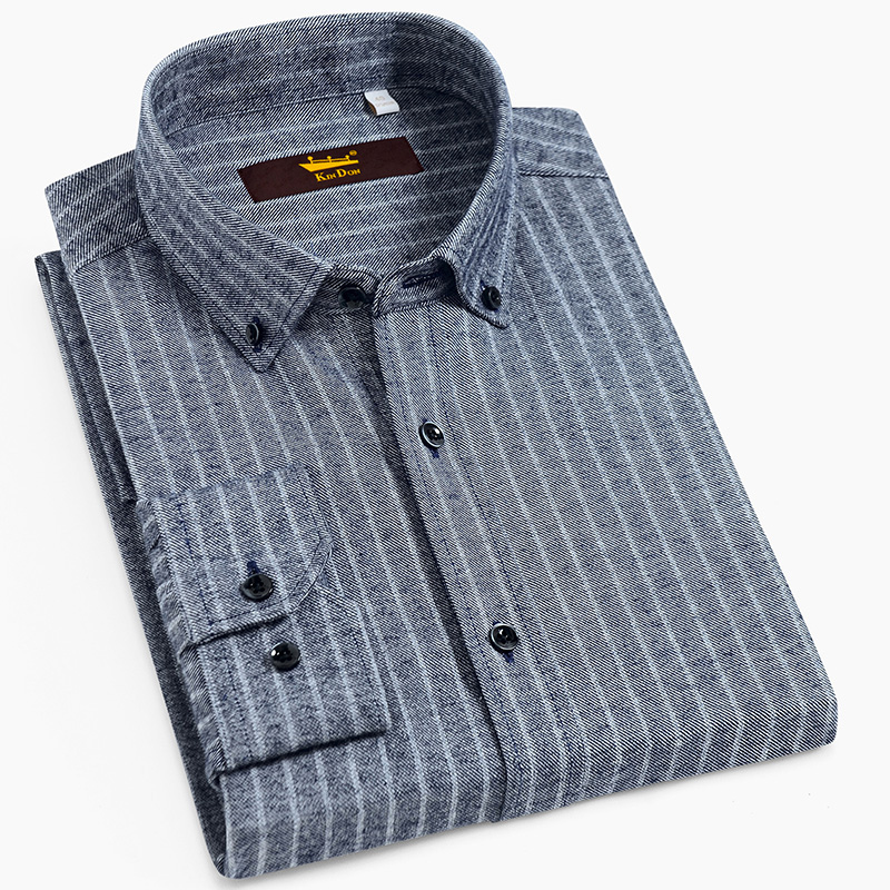 Men's Long Sleeve Button Down Brushed Striped Shirts Casual Standard-fit Comfortable Soft 100% Cotton Thick Tops Shirt